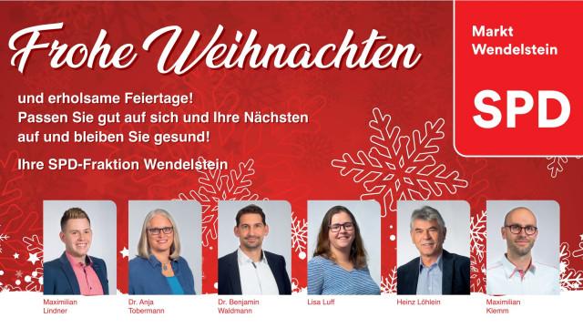 SPD-Gemeinderatsfraktion Wendelstein wünscht Ihnen frohe Weihnachten und viel Gesundheit!